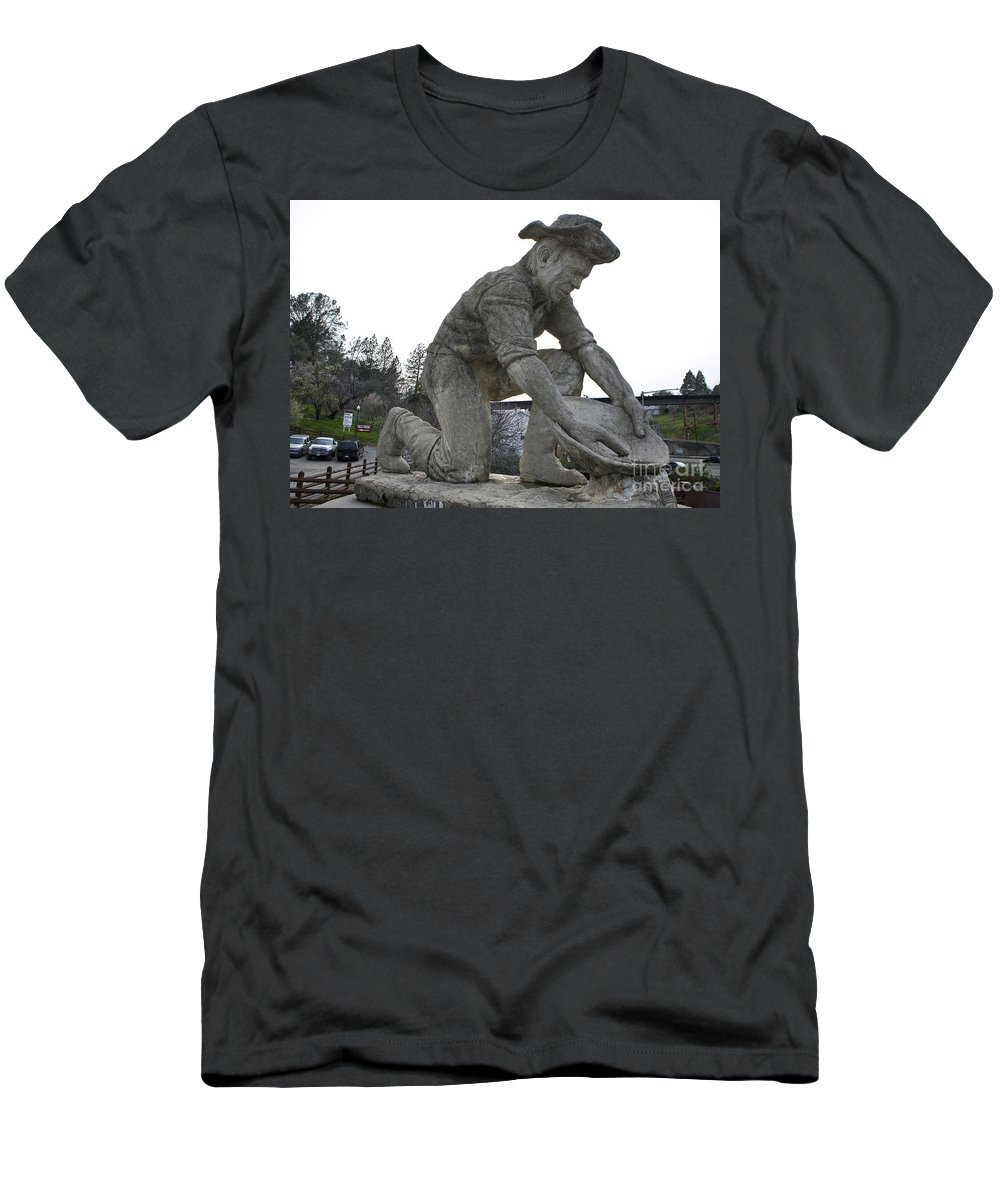 Travel Men's T-Shirt (Athletic Fit) featuring the photograph Scuplture Of Gold Rush Miner Claude Chana by Jason O Watson