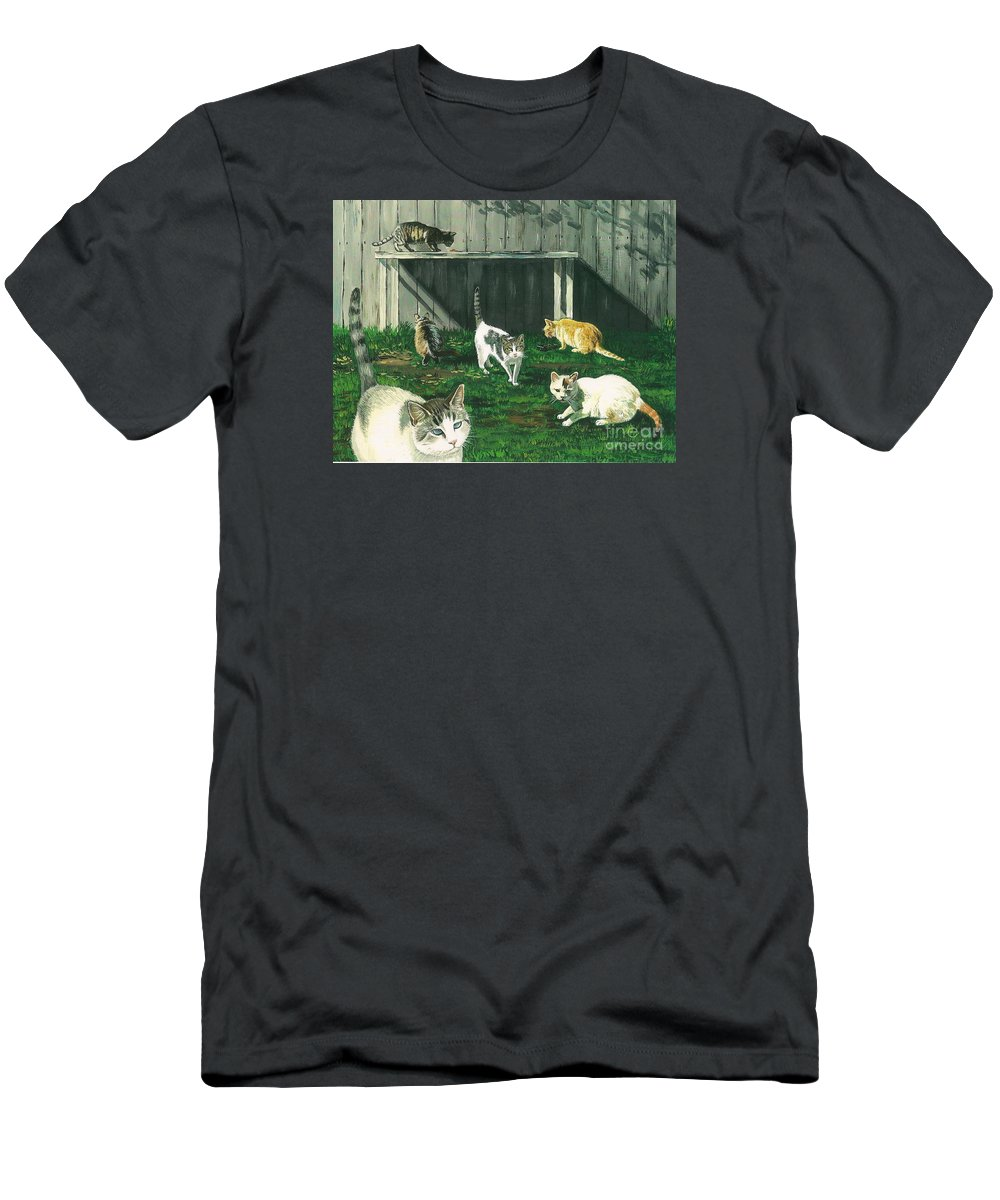 Print Men's T-Shirt (Athletic Fit) featuring the painting Six Cats by Margaryta Yermolayeva