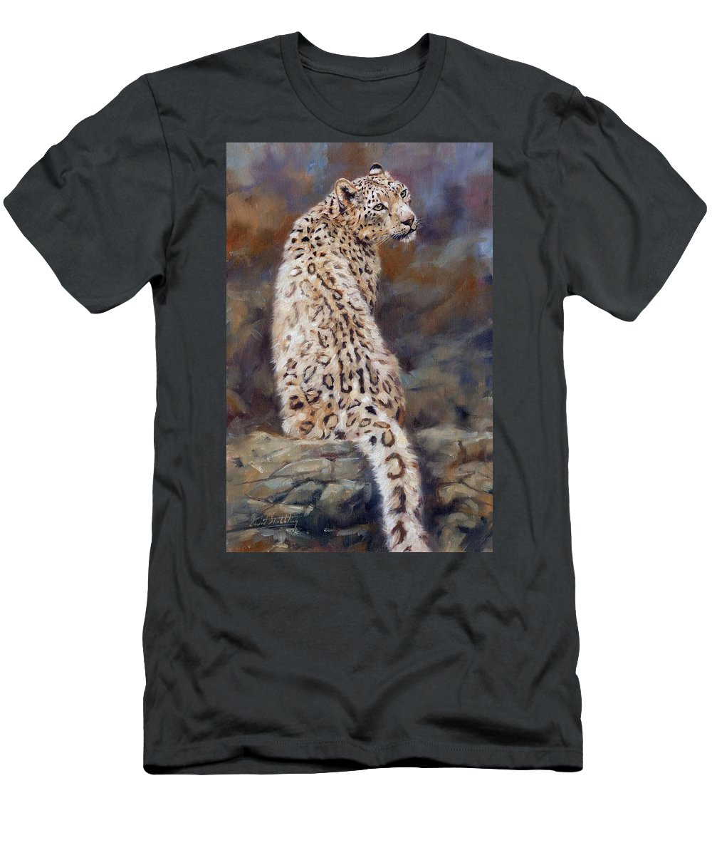 Snow Leopard Men's T-Shirt (Athletic Fit) featuring the painting Snow Leopard by David Stribbling