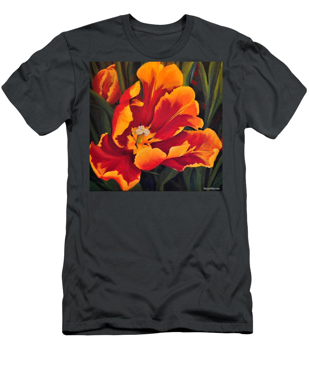 Tulip Men's T-Shirt (Athletic Fit) featuring the painting Spring Fever by Marjory Wilson