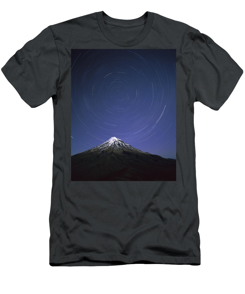 Feb0514 Men's T-Shirt (Athletic Fit) featuring the photograph Star Trails Over Mt Taranaki New Zealand by Harley Betts