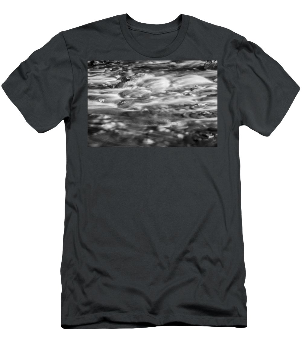 Stream Men's T-Shirt (Athletic Fit) featuring the photograph Stream Fall Colors Great Smoky Mountains Painted Bw by Rich Franco