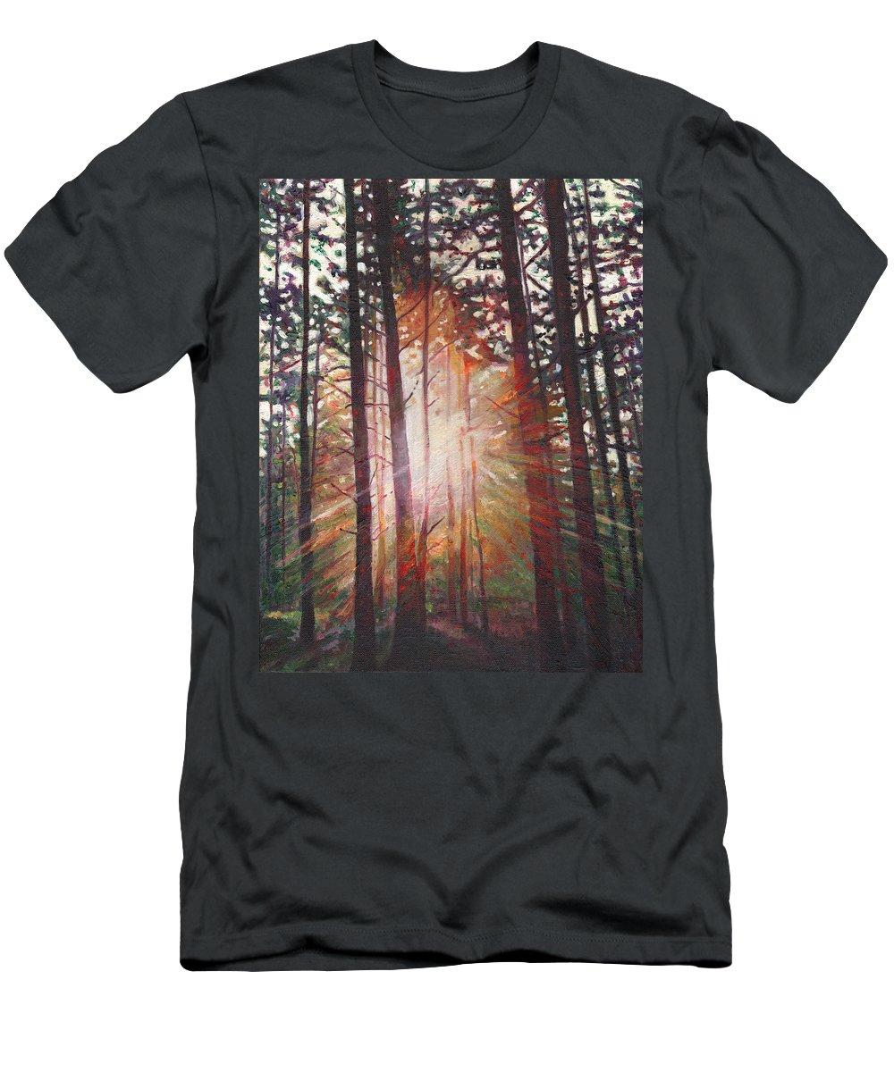 Sunburst Men's T-Shirt (Athletic Fit) featuring the painting Sunburst by Helen White