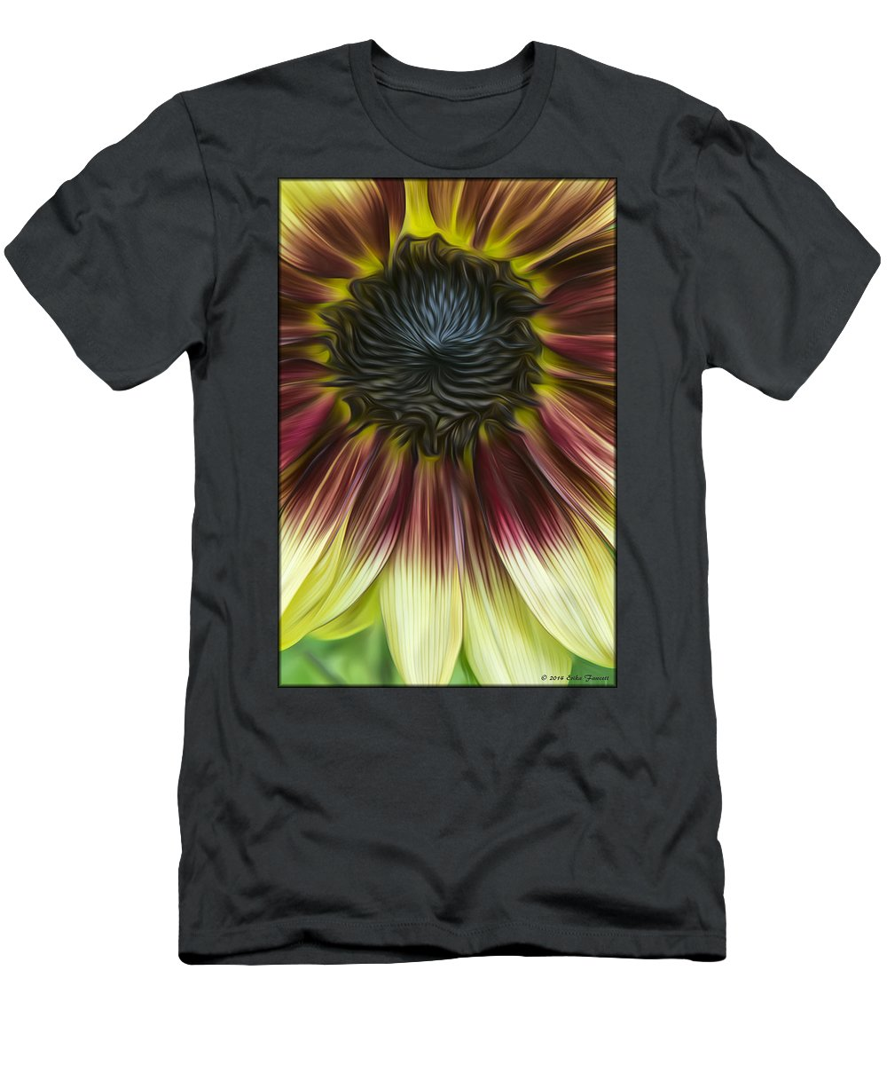 Sunflower Men's T-Shirt (Athletic Fit) featuring the photograph Sunflower In Oils by Erika Fawcett