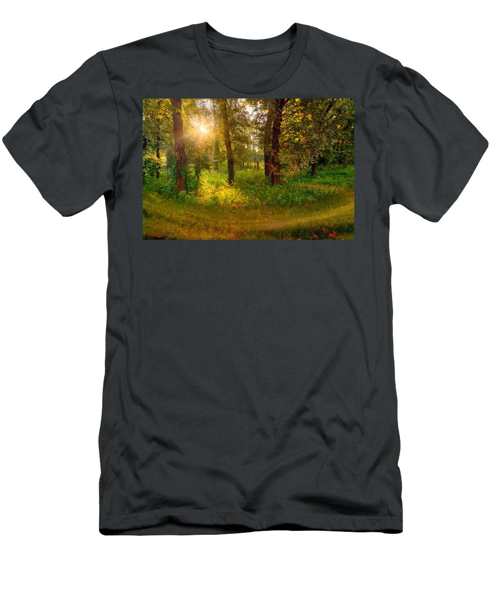 Kiev Men's T-Shirt (Athletic Fit) featuring the photograph Sunrise In The Forest by Alain De Maximy