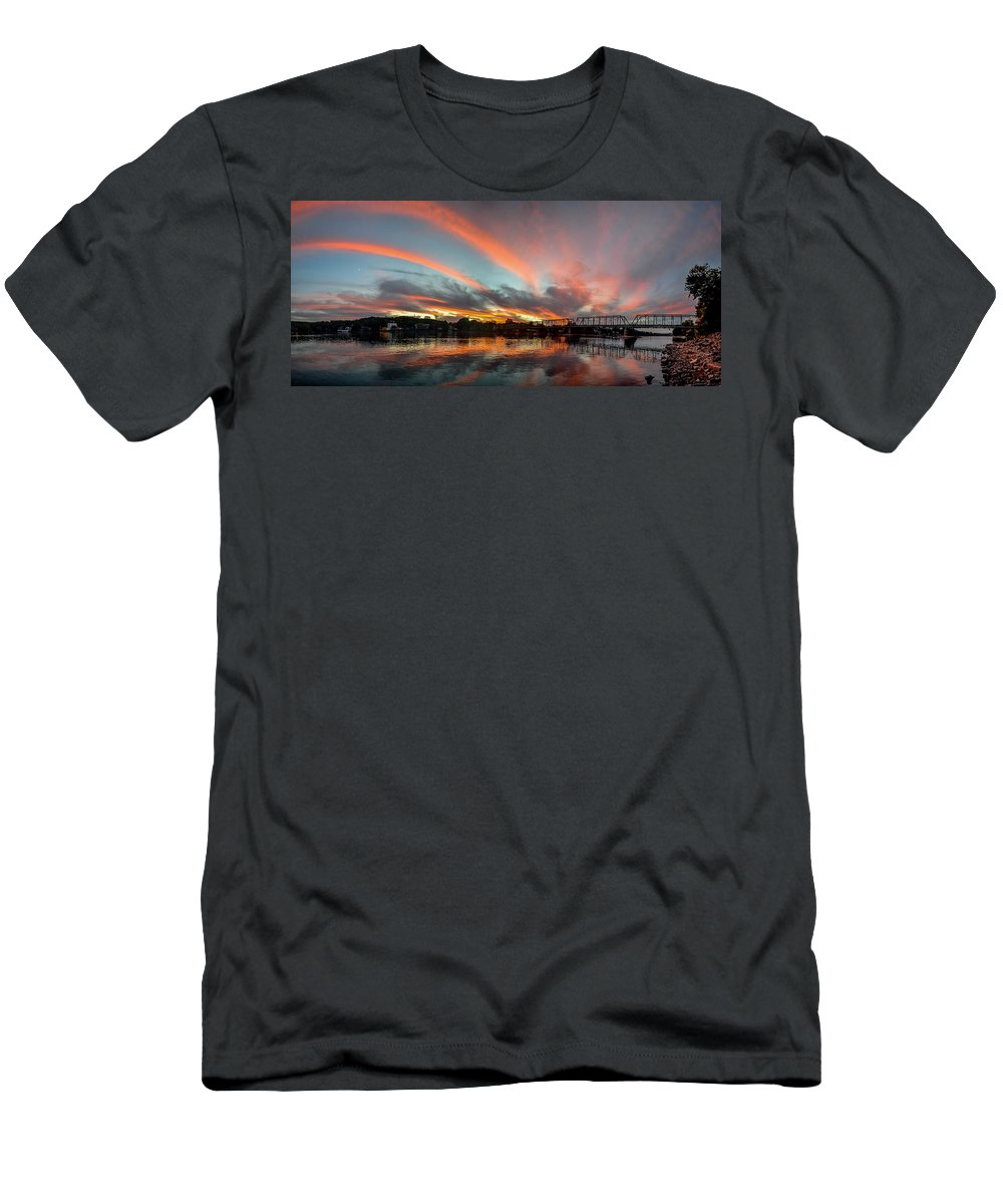Sunset Over New Hope Men's T-Shirt (Athletic Fit) featuring the photograph Sunset Over New Hope by Michael Brooks
