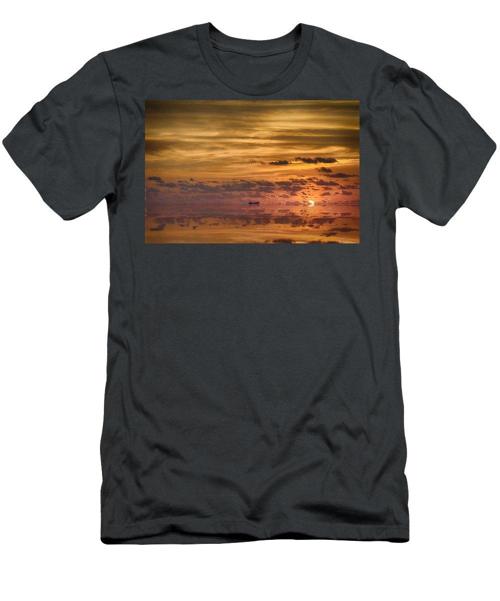 Supertanker Men's T-Shirt (Athletic Fit) featuring the photograph Supertanker Sunset V6 by Douglas Barnard