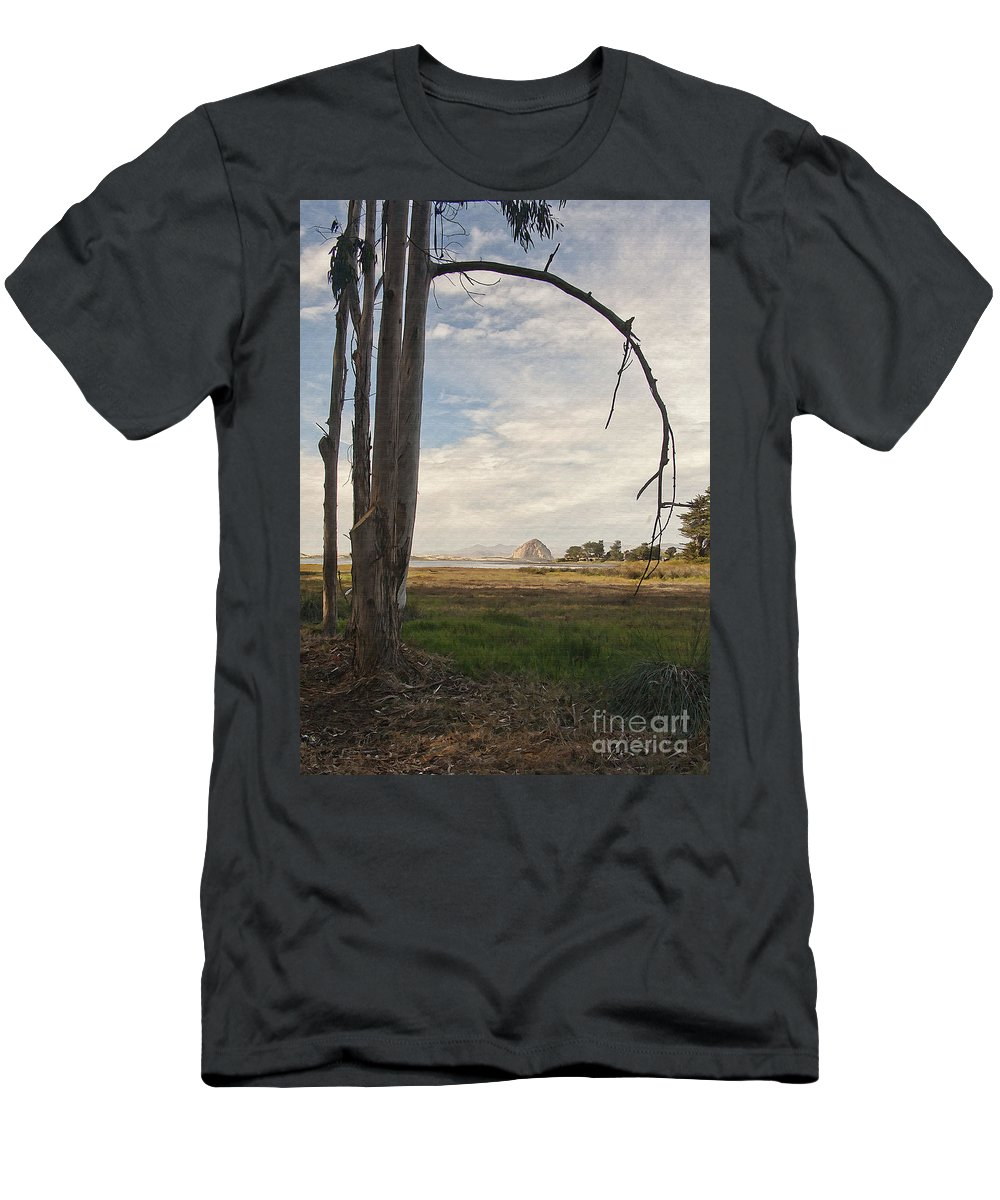 Morro Rock Men's T-Shirt (Athletic Fit) featuring the digital art Sweet Water View by Sharon Foster