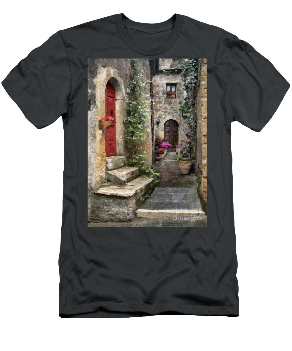 Door Men's T-Shirt (Athletic Fit) featuring the photograph Tarquinia Red Door Impasto by Sharon Foster