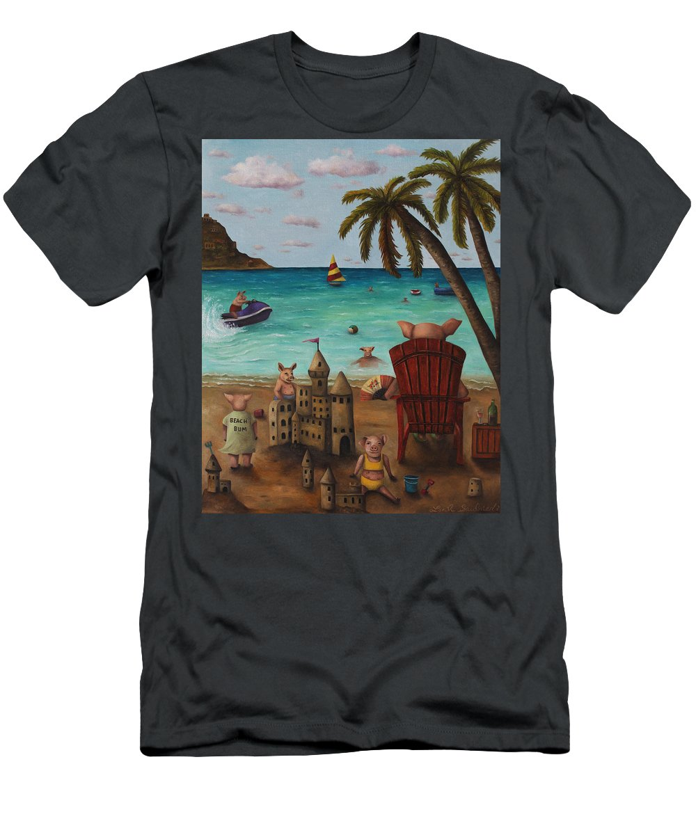Pig Men's T-Shirt (Athletic Fit) featuring the painting The Bacon Shortage by Leah Saulnier The Painting Maniac