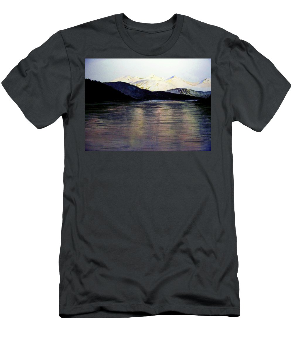 Watercolor Men's T-Shirt (Athletic Fit) featuring the painting The Deepening Day by Brenda Owen