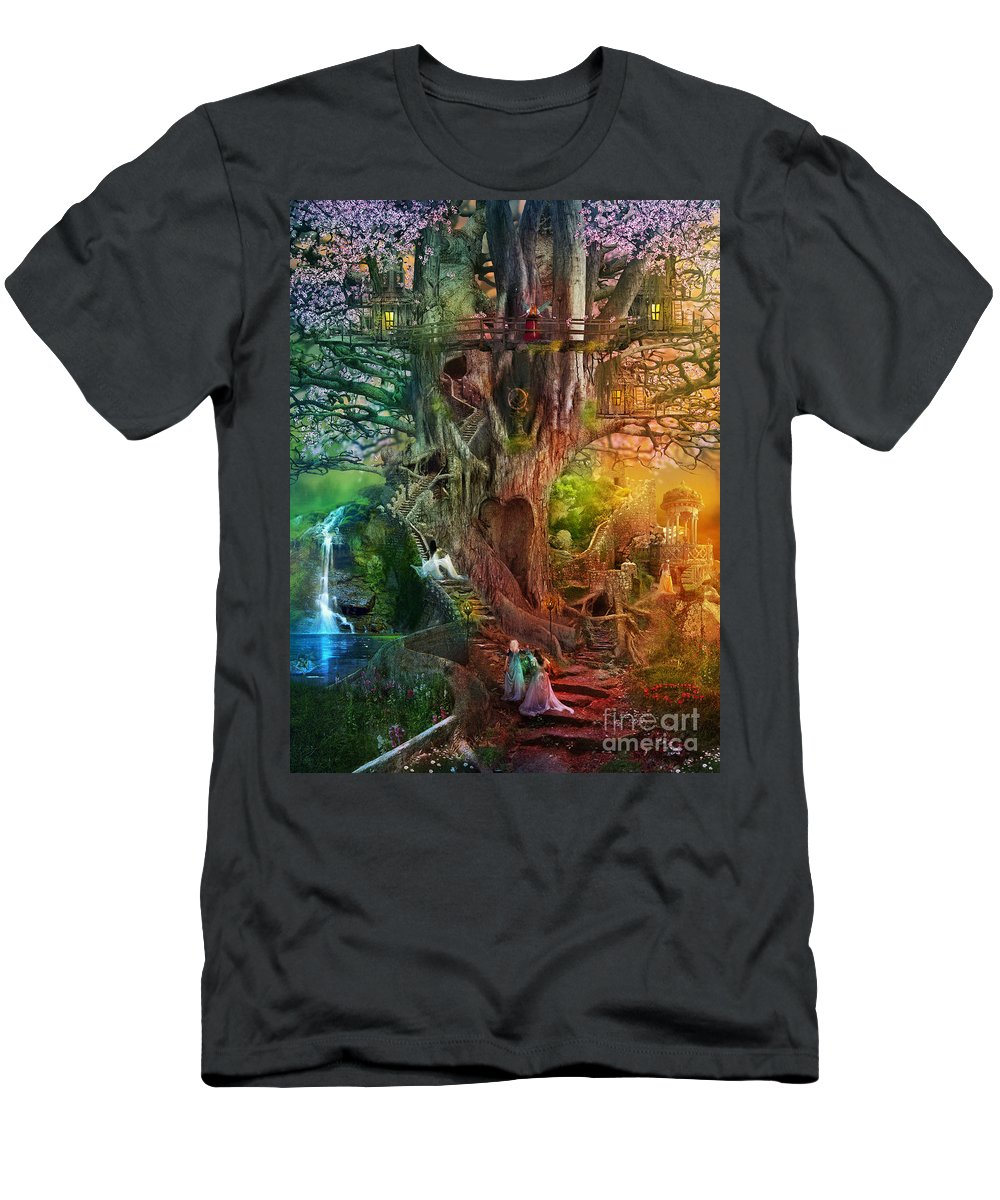 Aimee Stewart Men's T-Shirt (Athletic Fit) featuring the digital art The Dreaming Tree by MGL Meiklejohn Graphics Licensing