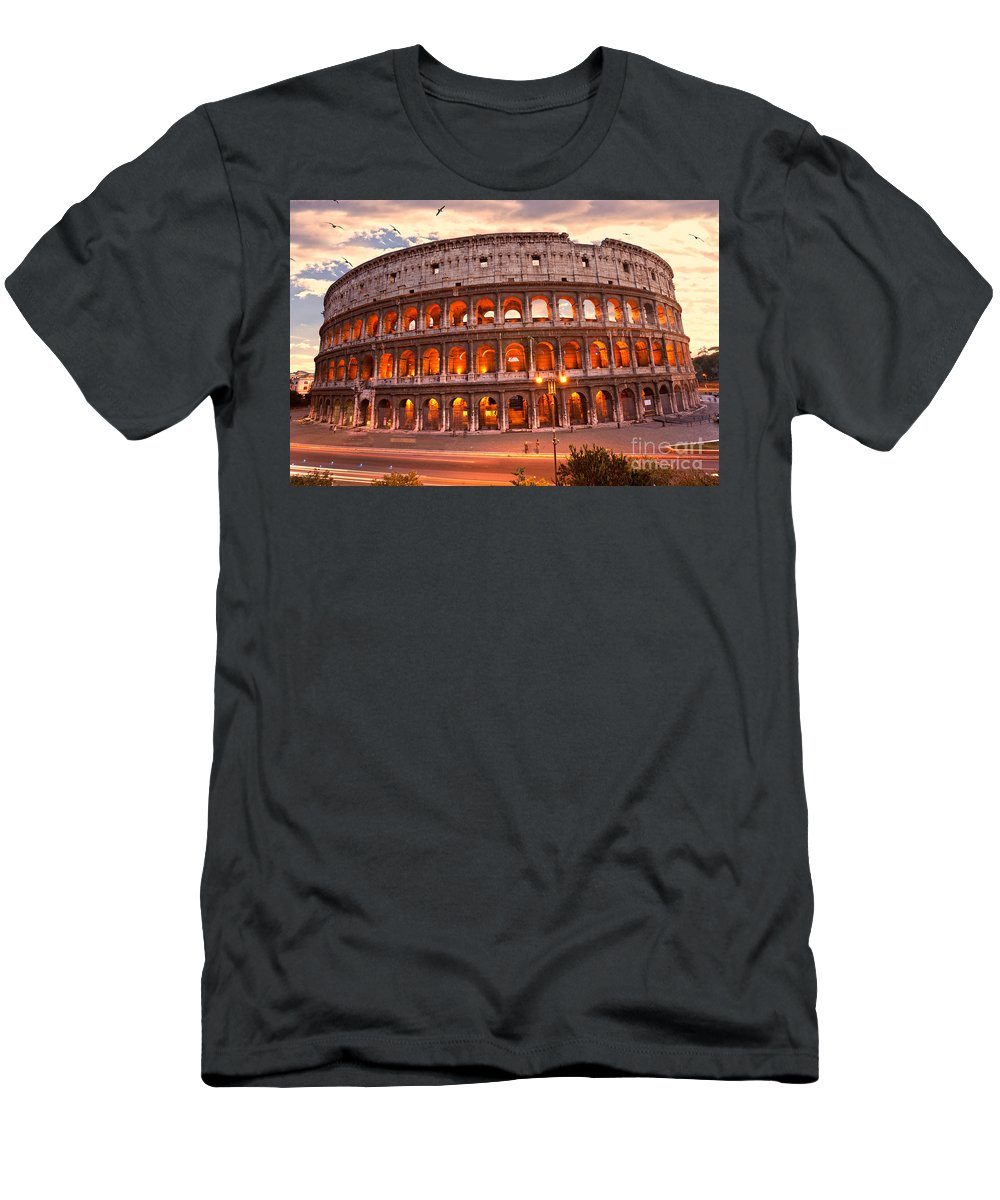 Column Men's T-Shirt (Athletic Fit) featuring the photograph The Majestic Coliseum - Rome - Italy by Luciano Mortula