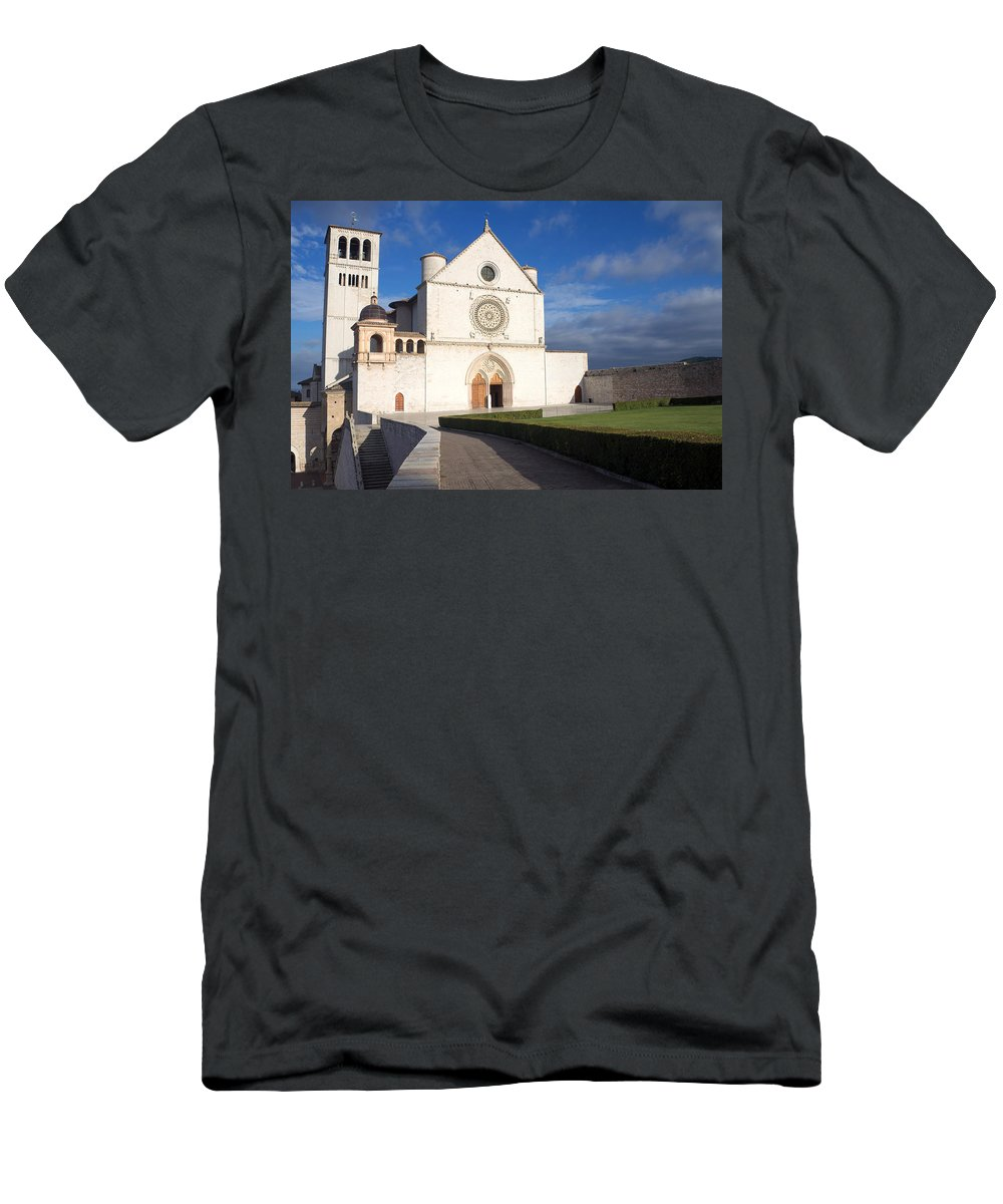 Landmark Men's T-Shirt (Athletic Fit) featuring the photograph The Papal Basilica Of St. Francis Of Assisi by Jaroslav Frank