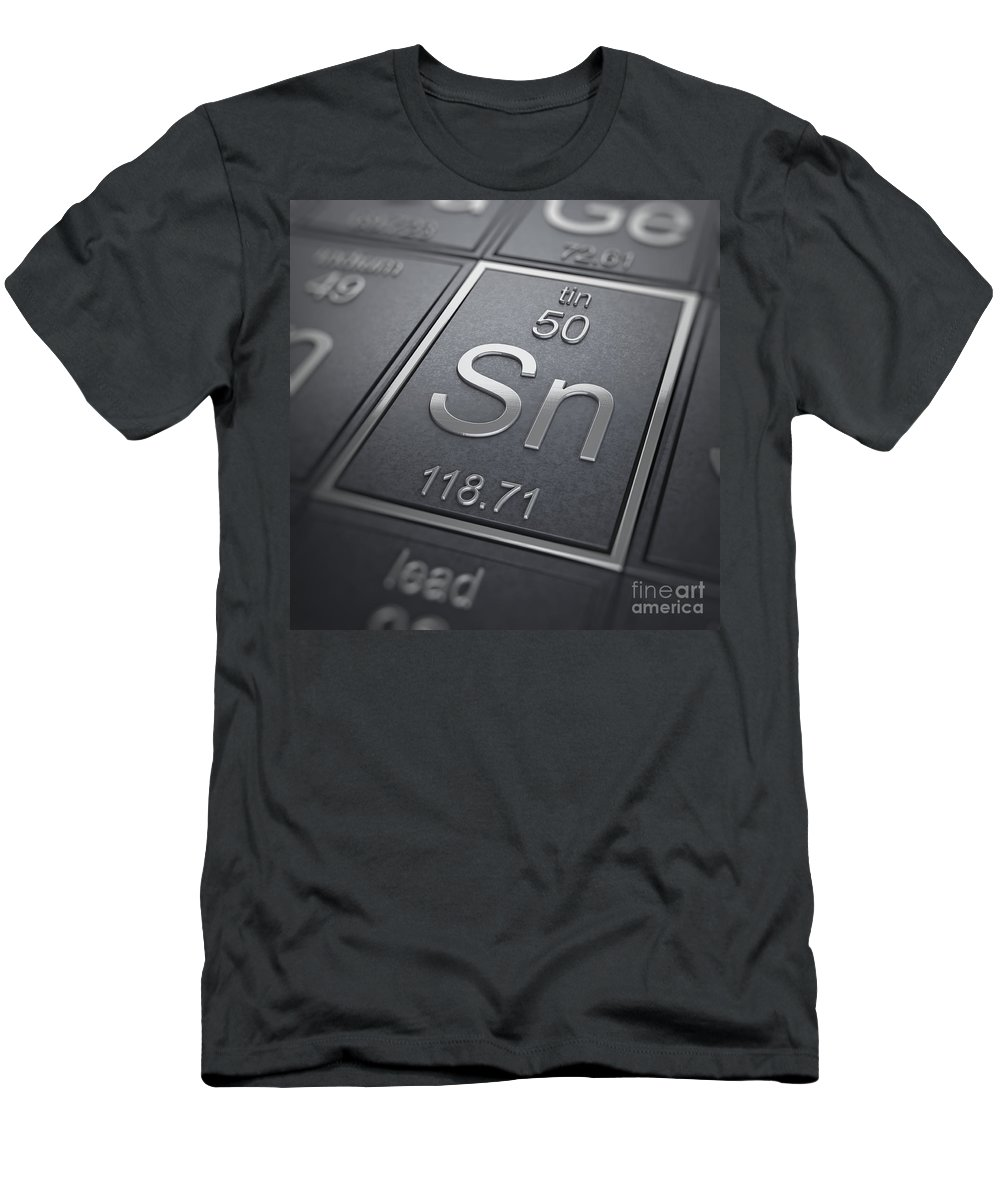 Periodic Table Men's T-Shirt (Athletic Fit) featuring the photograph Tin Chemical Element by Science Picture Co