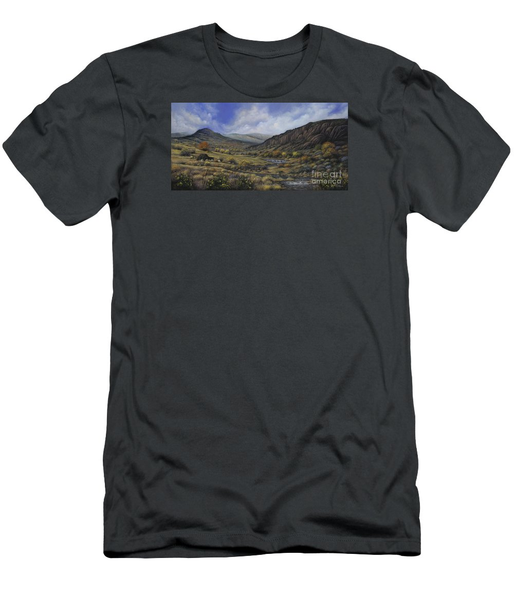 Southwest-landscape Men's T-Shirt (Athletic Fit) featuring the painting Tres Piedras by Ricardo Chavez-Mendez