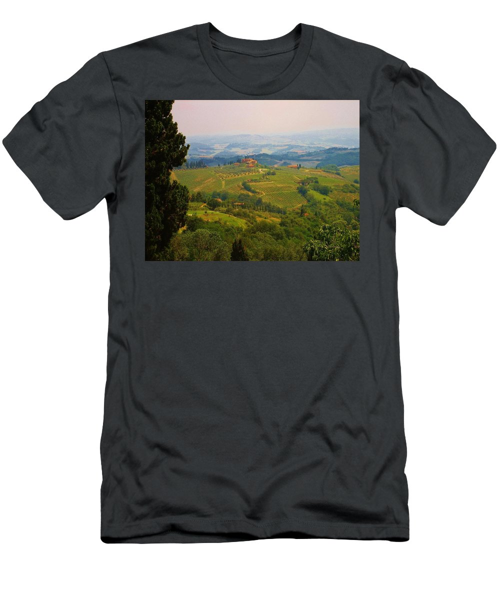 Florence Men's T-Shirt (Athletic Fit) featuring the photograph Tuscan Landscape by Dany Lison
