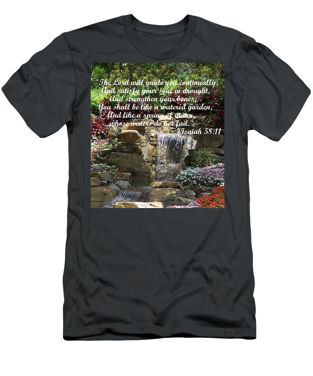 Inspirational Men's T-Shirt (Athletic Fit) featuring the photograph Watered Garden by Pharris Art