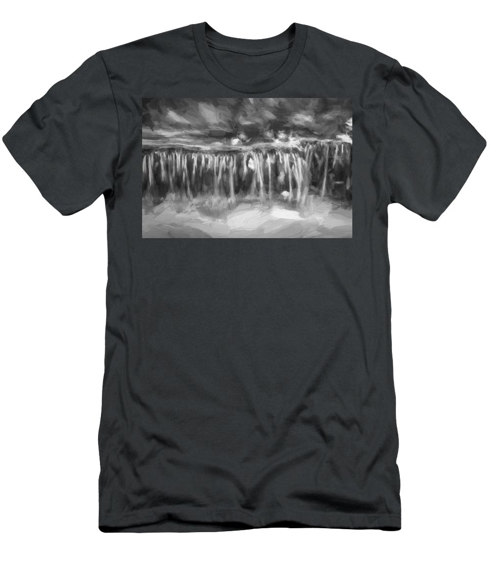 Waterfalls Men's T-Shirt (Athletic Fit) featuring the photograph Waterfalls Childs National Park Painted Bw  by Rich Franco