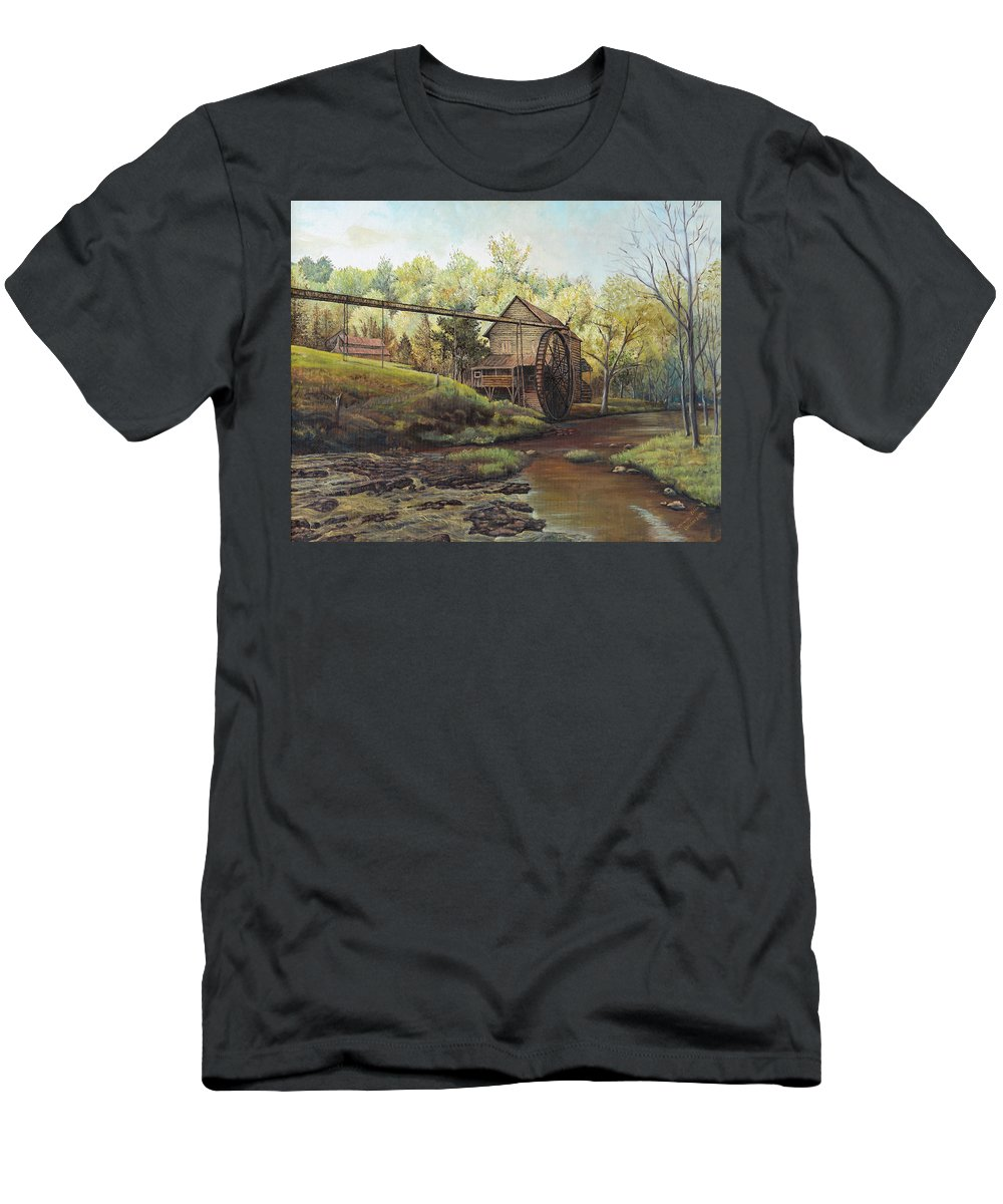 Landmark Men's T-Shirt (Athletic Fit) featuring the painting Watermill At Daybreak by Mary Ellen Anderson