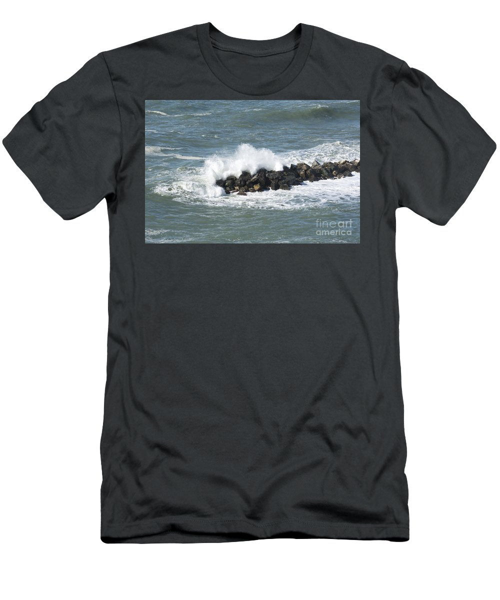 Wave Men's T-Shirt (Athletic Fit) featuring the photograph Wave On The Rocks by Mats Silvan