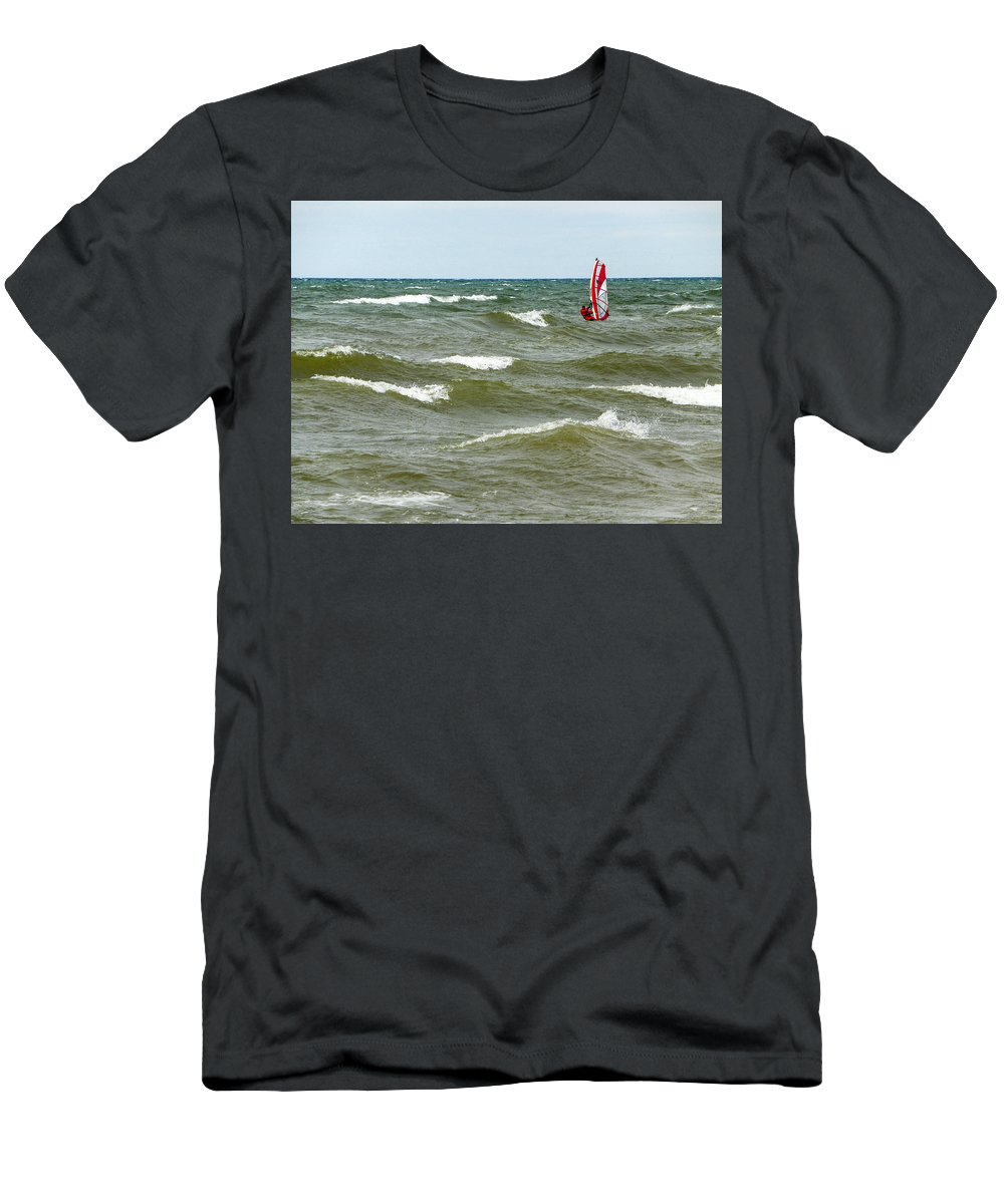 Windsurfing Men's T-Shirt (Athletic Fit) featuring the photograph Wind Surfing by Lou Cardinale