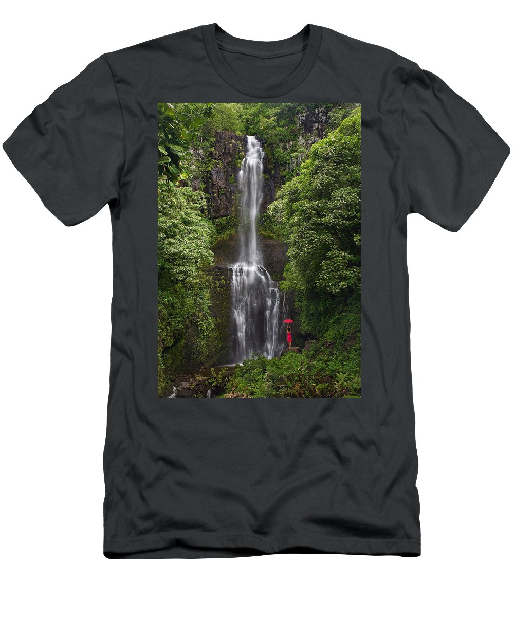Beautiful Men's T-Shirt (Athletic Fit) featuring the photograph Woman With Umbrella At Wailua Falls by M Swiet Productions