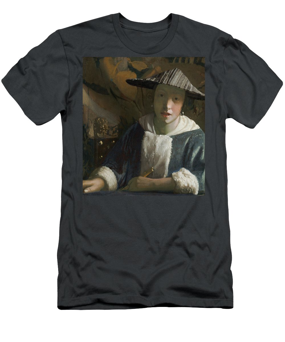 Female; Portrait; Instrument; Music; Hat; Fur-trimmed Costume; Half Length; Fille Men's T-Shirt (Athletic Fit) featuring the painting Young Girl With A Flute by Jan Vermeer