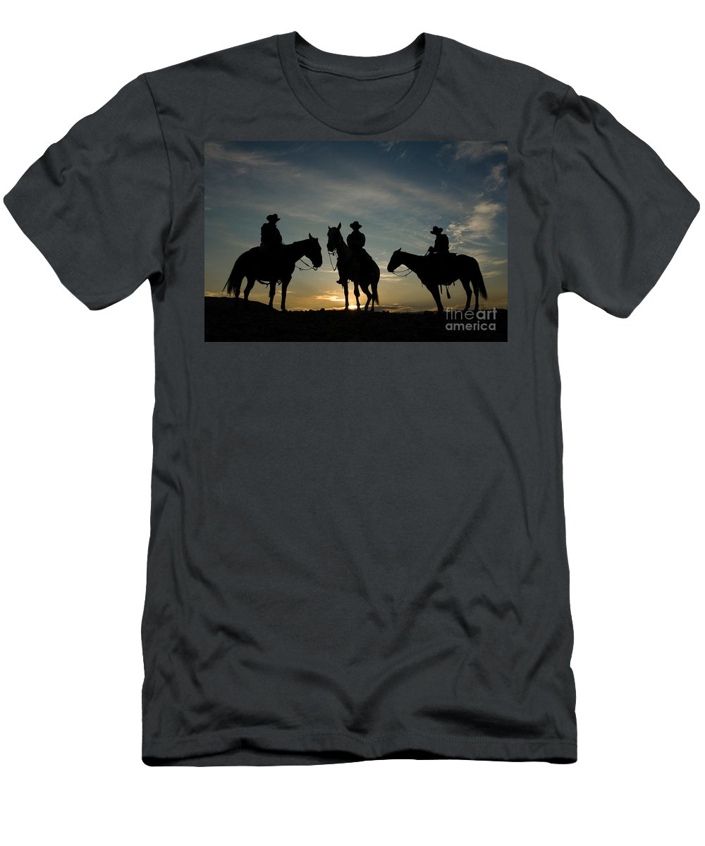 Cowboy Men's T-Shirt (Athletic Fit) featuring the photograph Cowboys by John Shaw