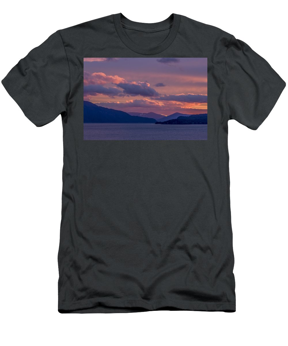 Sunrise Men's T-Shirt (Athletic Fit) featuring the photograph 121205a-154 A Sunnyside Sunrise by Albert Seger