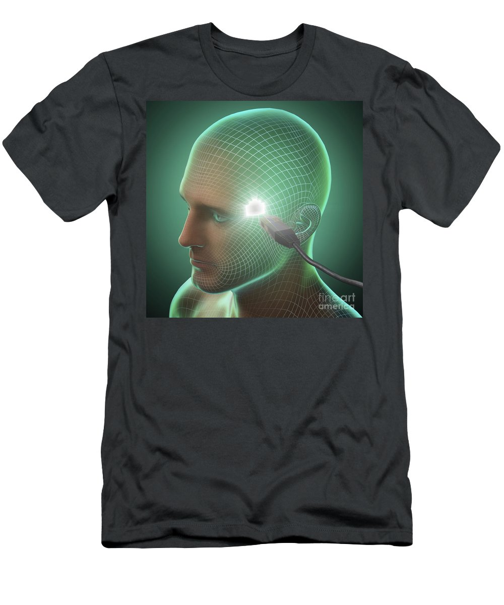 3d Visualisation Men's T-Shirt (Athletic Fit) featuring the photograph Digital Connection by Science Picture Co