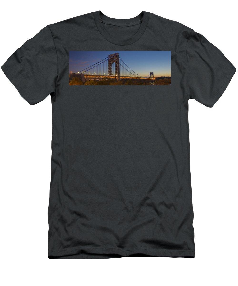 Gwb Men's T-Shirt (Athletic Fit) featuring the photograph George Washington Bridge by Theodore Jones