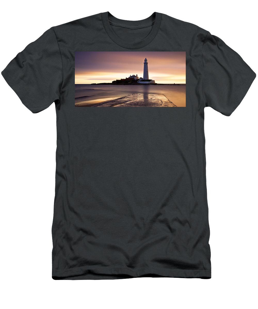 St Marys Men's T-Shirt (Athletic Fit) featuring the photograph St Marys Lighthouse by David Pringle