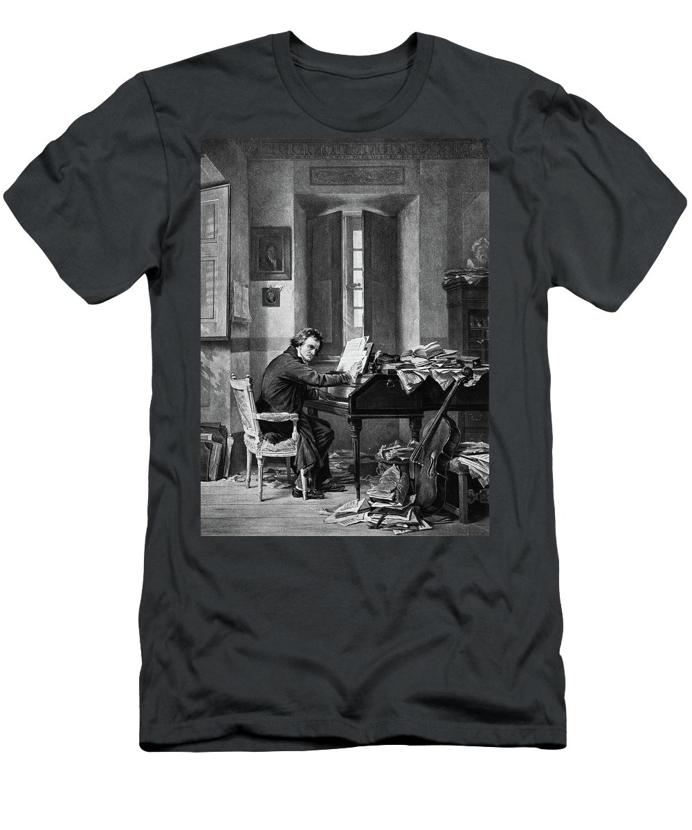 Vertical Men's T-Shirt (Athletic Fit) featuring the painting 1800s 1811 Painting By Schloesser by Vintage Images