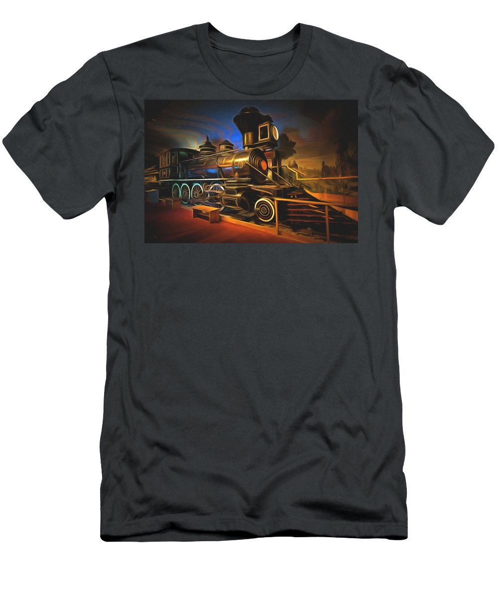 Santa Fe Railroad Locomotive Men's T-Shirt (Athletic Fit) featuring the painting 1880 Steam Locomotive by L Wright