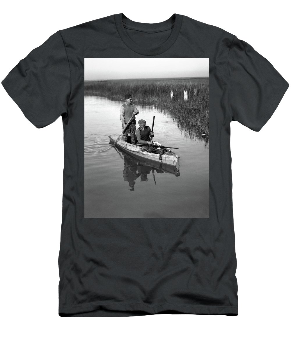 Photography Men's T-Shirt (Athletic Fit) featuring the photograph 1920s Two Men Duck Hunters by Vintage Images