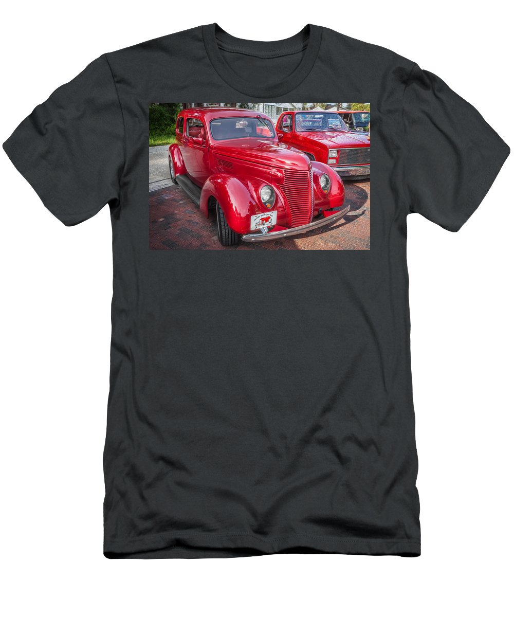 1938 Ford Men's T-Shirt (Athletic Fit) featuring the photograph 1938 Ford 2 Door Sedan Painted by Rich Franco