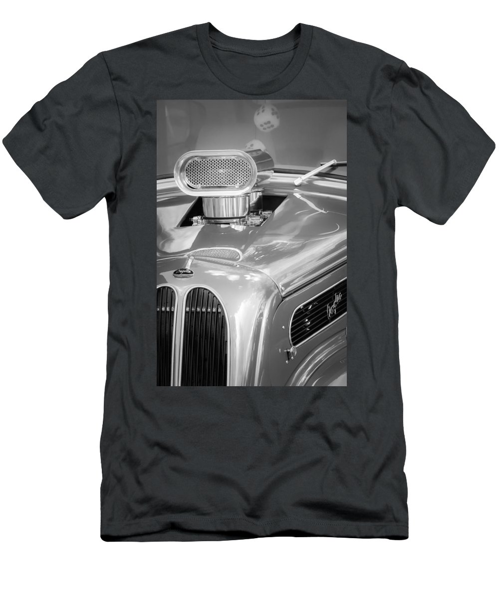1948 Anglia Engine Men's T-Shirt (Athletic Fit) featuring the photograph 1948 Anglia Engine -522bw by Jill Reger