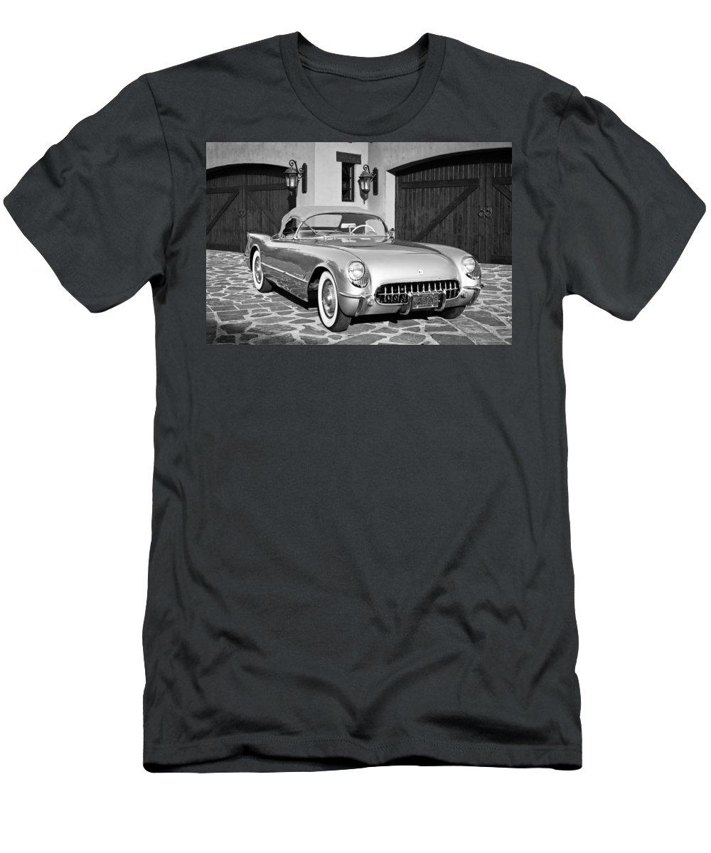 1954 Chevrolet Corvette Men's T-Shirt (Athletic Fit) featuring the photograph 1954 Chevrolet Corvette -183bw by Jill Reger