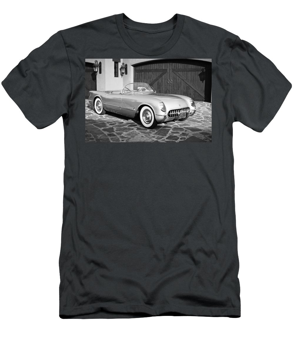 1954 Chevrolet Corvette Men's T-Shirt (Athletic Fit) featuring the photograph 1954 Chevrolet Corvette -203bw by Jill Reger