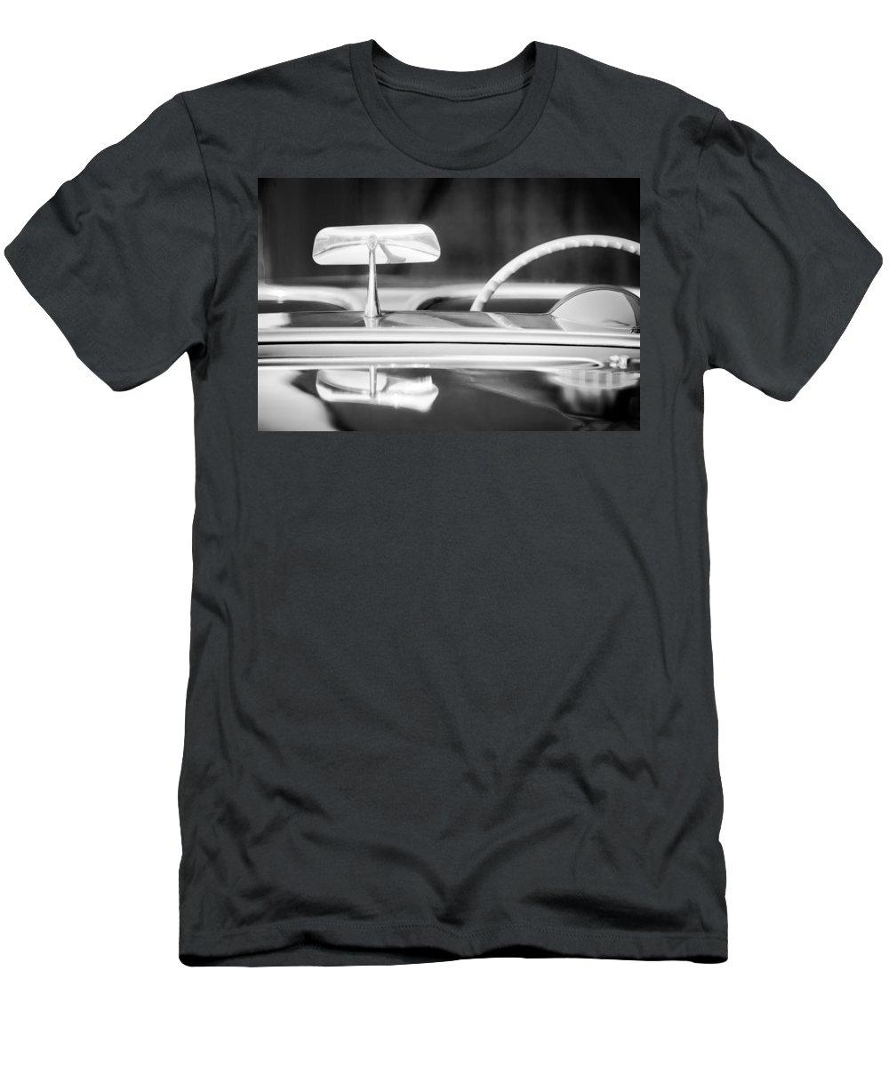 1954 Chevrolet Corvette Steering Wheel Men's T-Shirt (Athletic Fit) featuring the photograph 1954 Chevrolet Corvette Steering Wheel -311bw by Jill Reger
