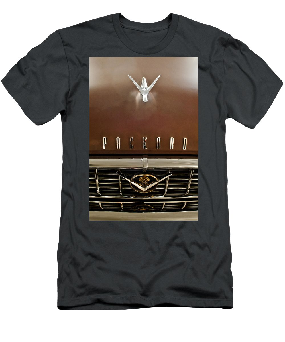 1955 Packard 400 Men's T-Shirt (Athletic Fit) featuring the photograph 1955 Packard 400 Hood Ornament by Jill Reger