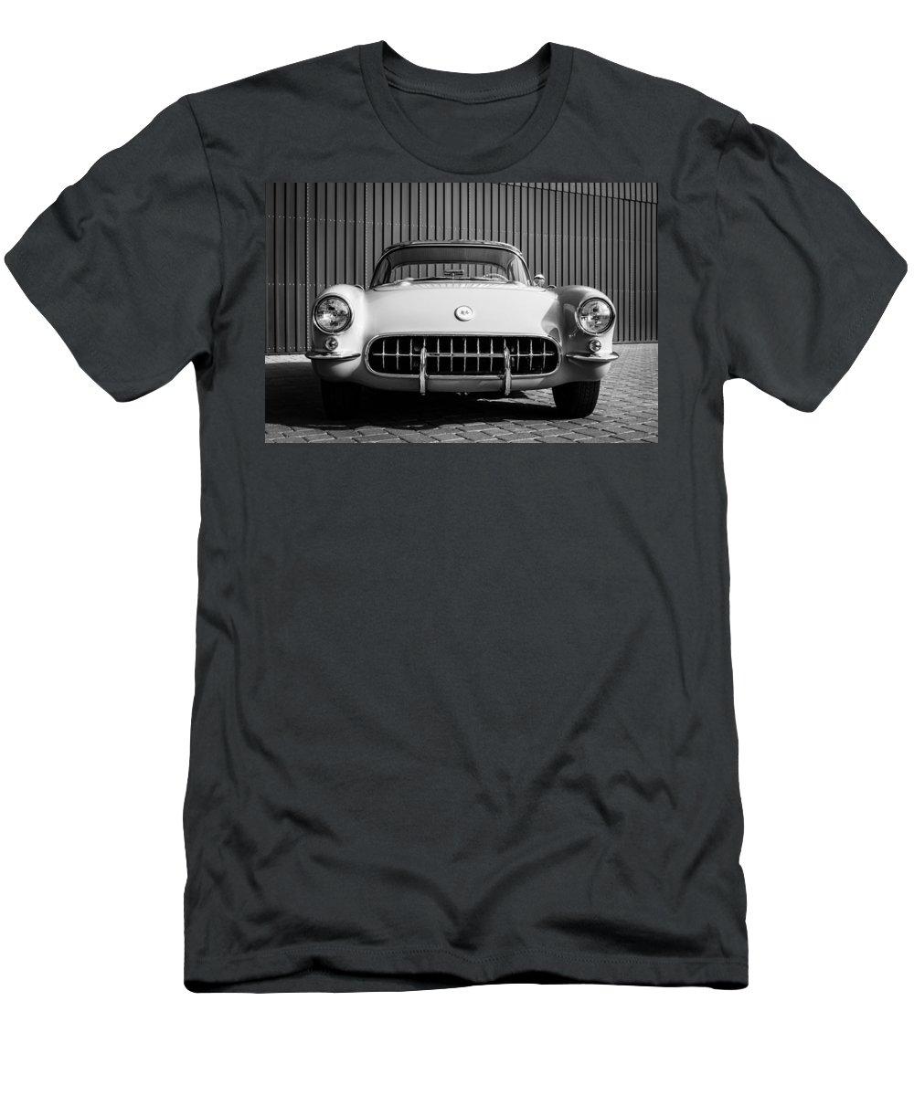 1957 Chevrolet Corvette Men's T-Shirt (Athletic Fit) featuring the photograph 1957 Chevrolet Corvette -0010bw by Jill Reger