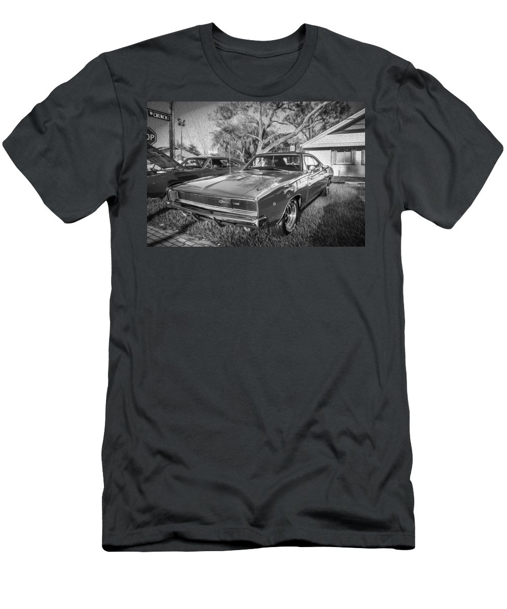 1968 Dodge Men's T-Shirt (Athletic Fit) featuring the photograph 1968 Dodge Charger The Bullit Car Bw by Rich Franco
