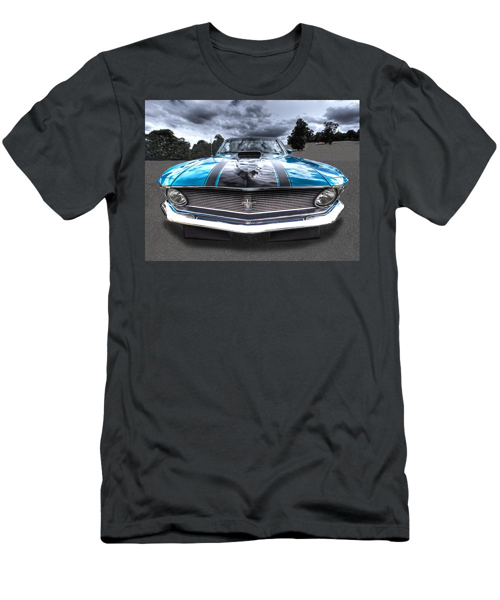 Mustang Boss 302 Men's T-Shirt (Athletic Fit) featuring the photograph 1970 Boss 302 Mustang by Gill Billington