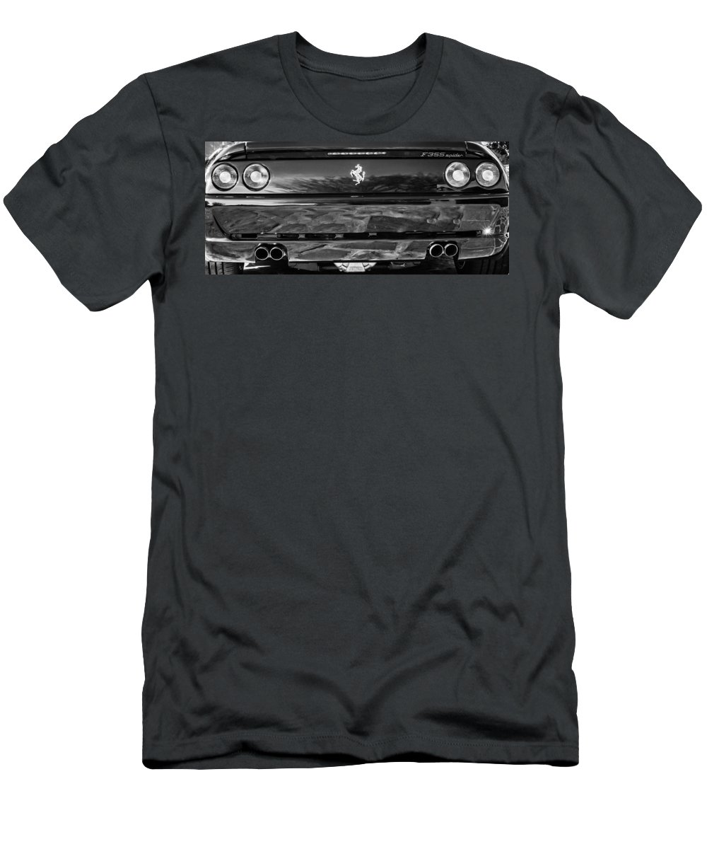 1997 Ferrari F 355 Spider Taillight Emblem Men's T-Shirt (Athletic Fit) featuring the photograph 1997 Ferrari F 355 Spider Taillight Emblem -078bw by Jill Reger