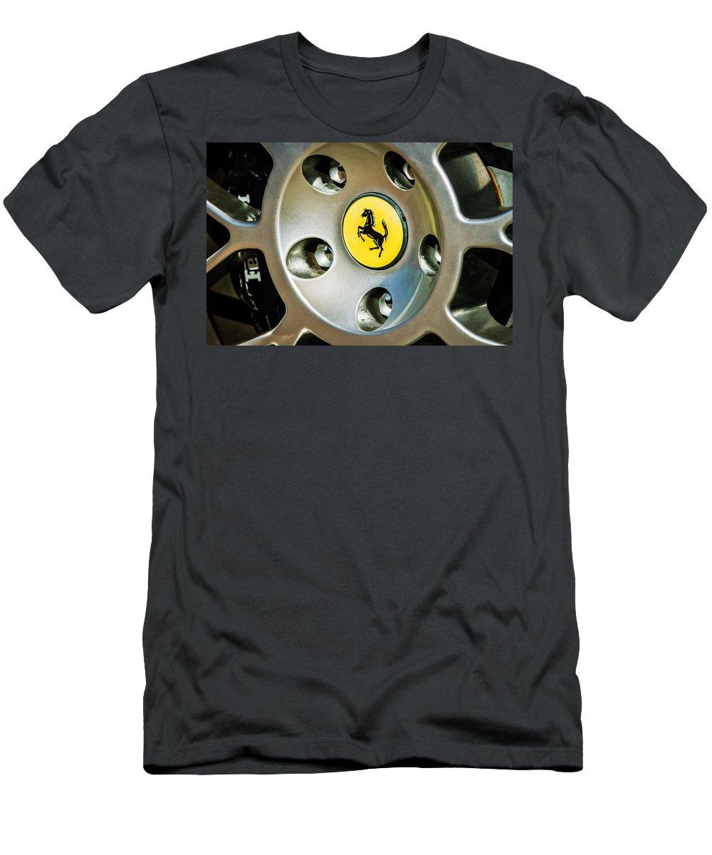 1997 Ferrari F 355 Spider Wheel Emblem Men's T-Shirt (Athletic Fit) featuring the photograph 1997 Ferrari F 355 Spider Wheel Emblem -201c by Jill Reger