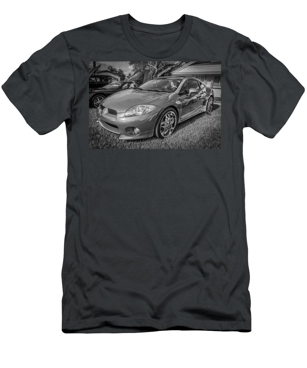 Mitsubishi Men's T-Shirt (Athletic Fit) featuring the photograph 2006 Mitsubishi Eclipse Gt V6 Painted Bw by Rich Franco