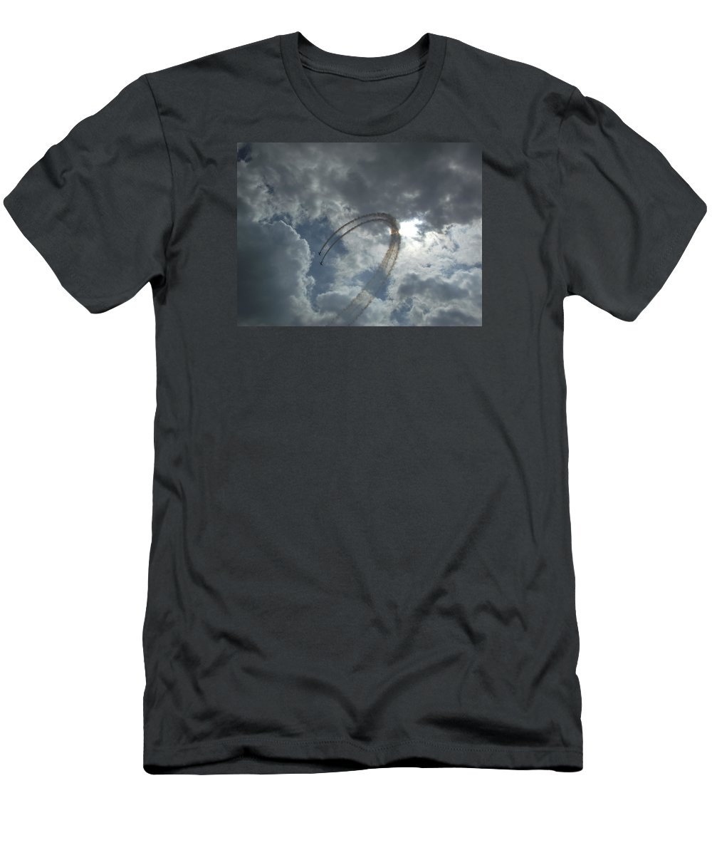 River Men's T-Shirt (Athletic Fit) featuring the photograph Aerial Display by Steve Kearns