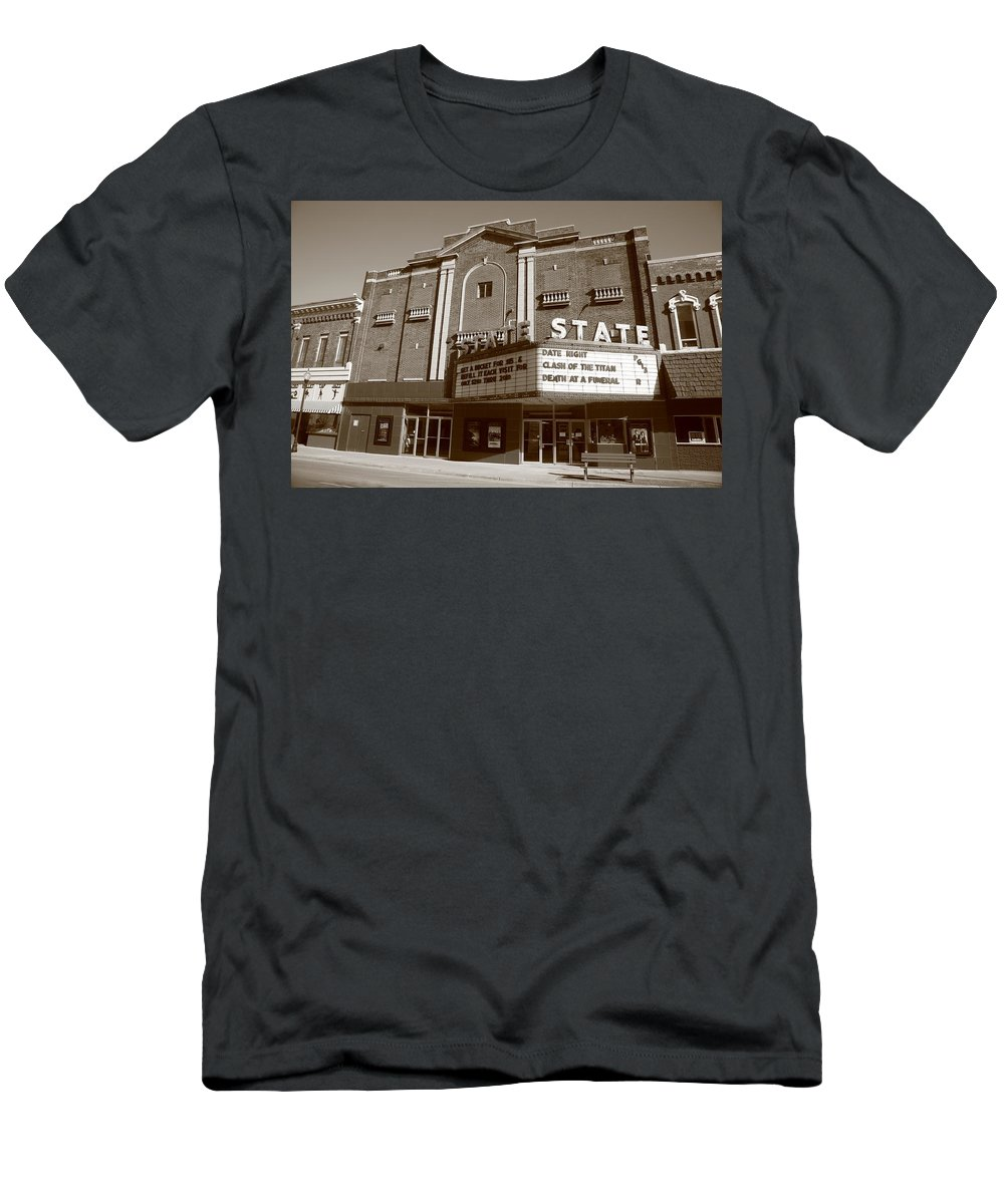 Alpena Men's T-Shirt (Athletic Fit) featuring the photograph Alpena Michigan - State Theater by Frank Romeo